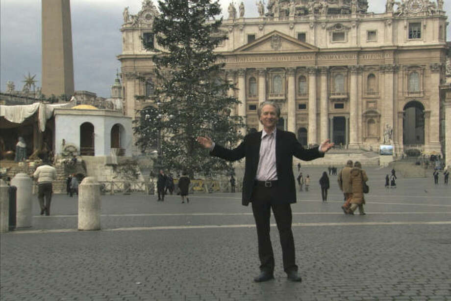 Faith at the movies: Keep clicking for a look at how religion is treated in Hollywood.2008: Bill Maher, seen here in Vatican City, mocks religious belief in the satire and documentary, Religulous. Photo: Photo Courtesy Of Lionsgate