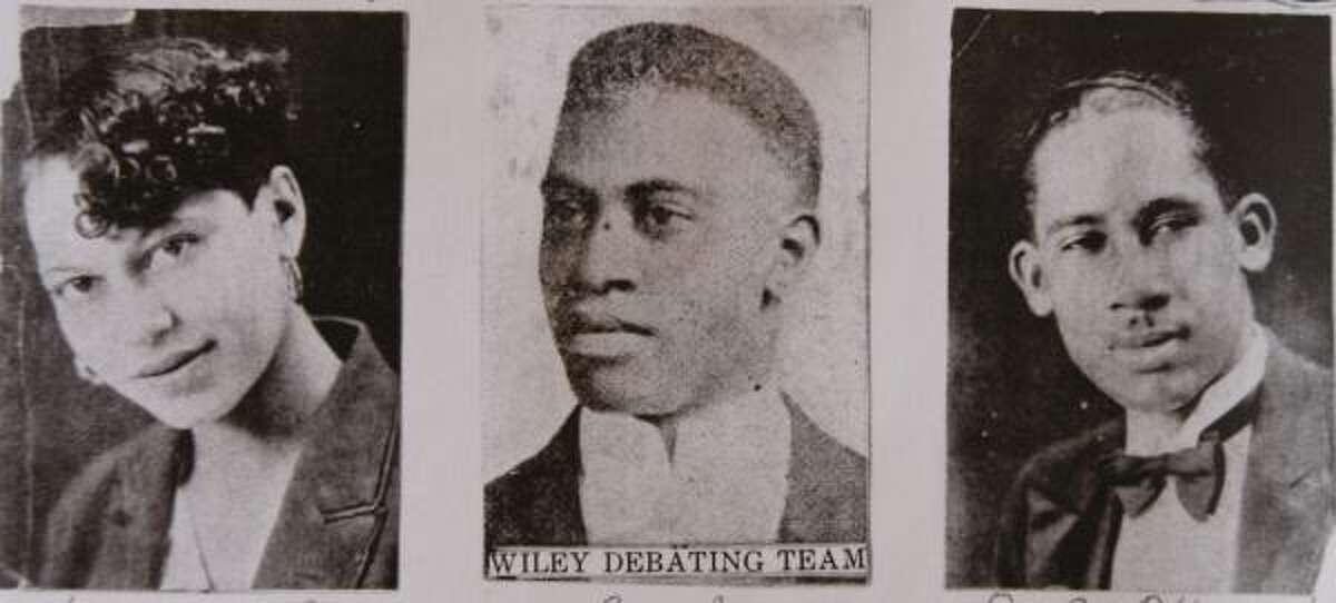 A Wiley College yearbook shows debate team member Henrietta Wells, coach Melvin B. Tolson, center, and team member J.E. Hines. In 1935, a debate team from the Texas school beat the national champions from the University of Southern California, now depicted in the film The Great Debaters.