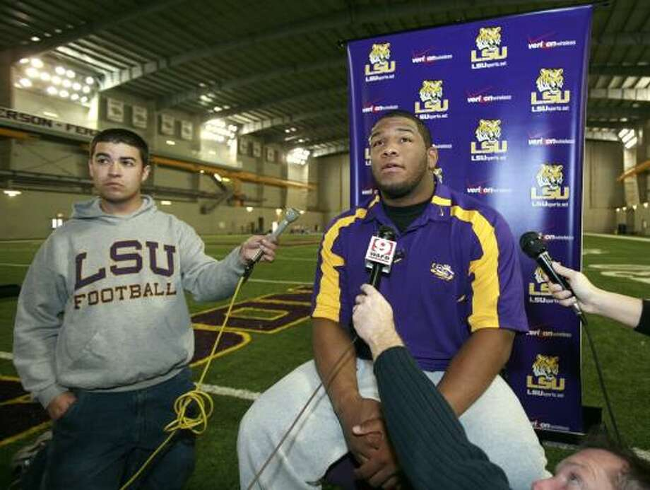 """Marlon Favorite, who goes by """"Big Fav"""" when on stage with his rap group, is so thrilled to be playing for the national championship in his hometown that he's written a rap song about it. Photo: TIM MUELLER, ASSOCIATED PRESS"""