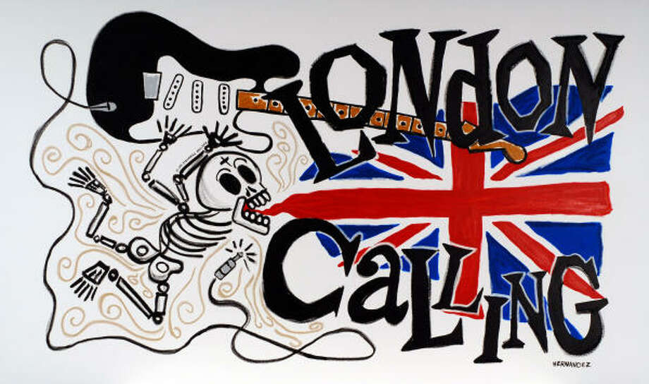 Day of the Dead Rock Stars painting of Joe Strummer of the Clash by Houston artist Carlos Hernandez. Photo: Carlos Hernandez