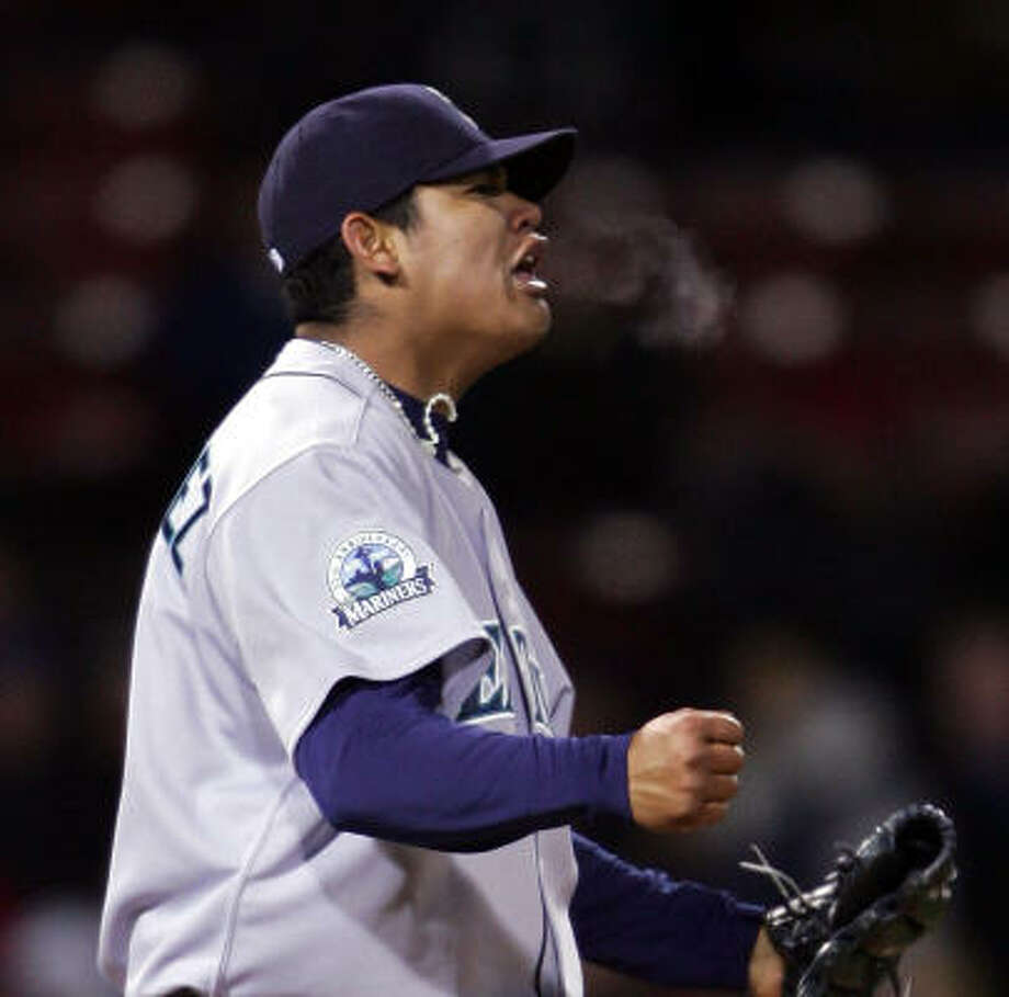 Mariners pitcher Felix Hernandez fell just shy of throwing the franchise's third no-hitter. Randy Johnson (1990) and Chris Bosio (1993) remain the only Seattle hurlers to accomplish the feat. Photo: Elsa, Getty Images