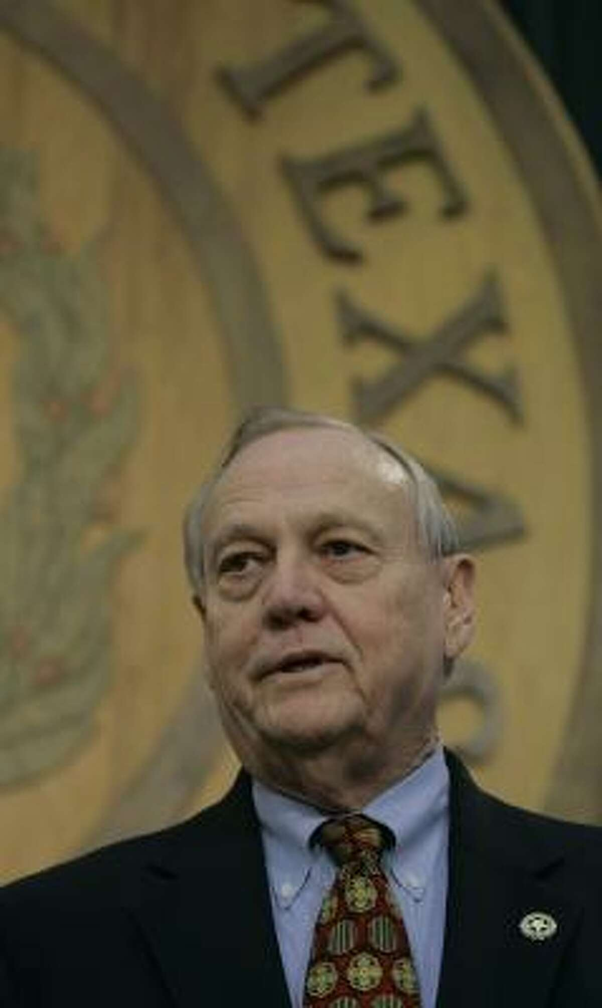 Rep. David Swinford, R-Amarillo, holds a news conference Friday after the House sustained a point of order by Rep. Lon Burnam, D-Fort Worth, that may have killed his homeland security bill.