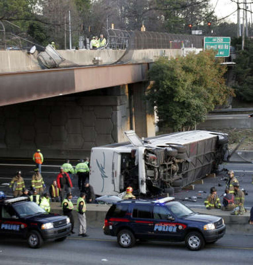 The bus that was carrying the Bluffton University baseball team when it crashed in Atlanta. Photo: GENE BLYTHE, AP