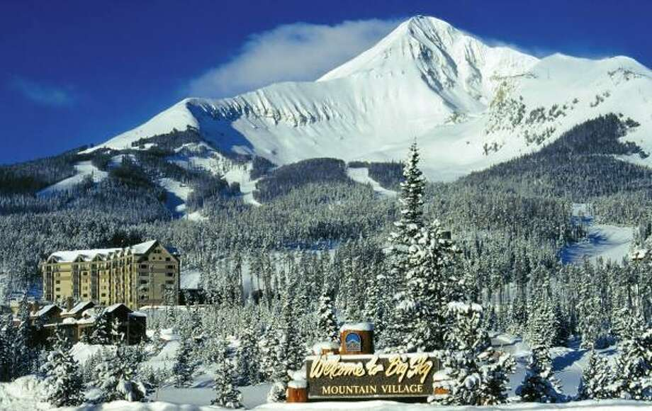 A tram at Montana's Big Sky Resort takes skiers to a large area of open-bowl terrain adjacent to the resort. In the background is 11,166-foot Lone Mountain. Photo: BIG SKY RESORT