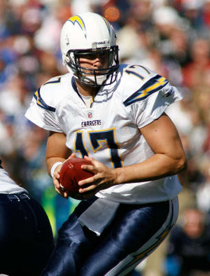 No. 1:Phillip Rivers of the San Diego Chargers is leading the league with a quarterback rating of 108.5.Attempts: 194 Completions: 124 Yards: 1,697 TDs: 16 Photo: Rick Stewart, Getty Images