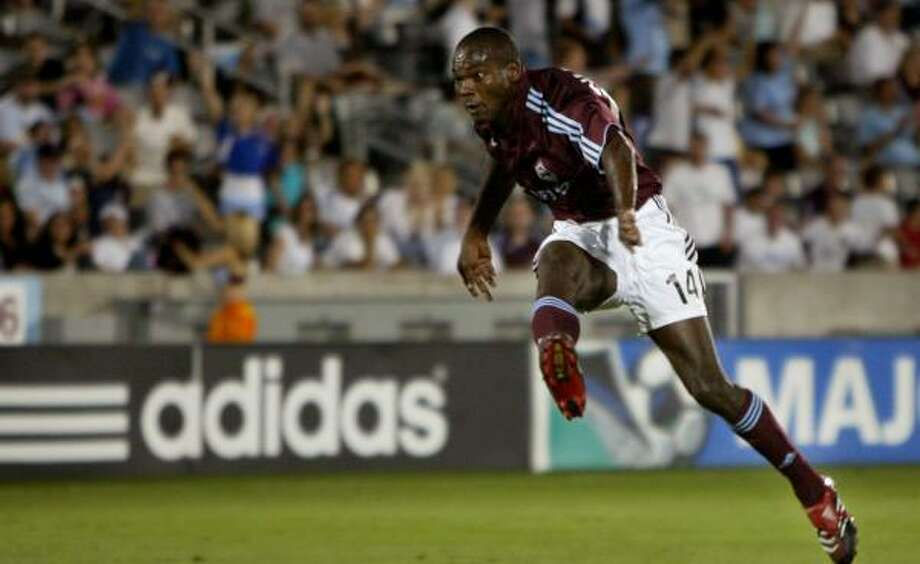 The Rapids' Omar Cummings celebrates his goal during Colorado's 3-0 win over New England. Photo: Doug Pensinger, Getty Images