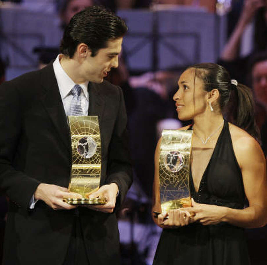 Kaká (with women's winner and Brazilian countrywoman Marta) won the award by 543 votes. Photo: Anja Niedringhaus, AP