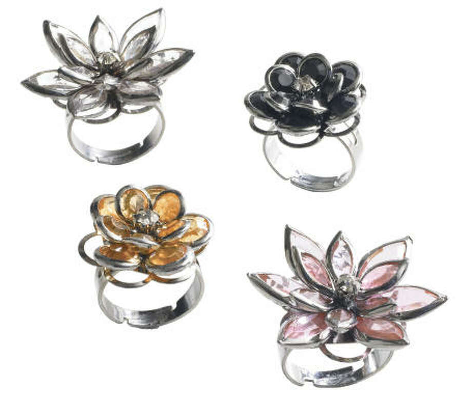 These fleurette rings, a perfect stocking stuffer, are $4 each at Pier 1. Photo: Pier 1