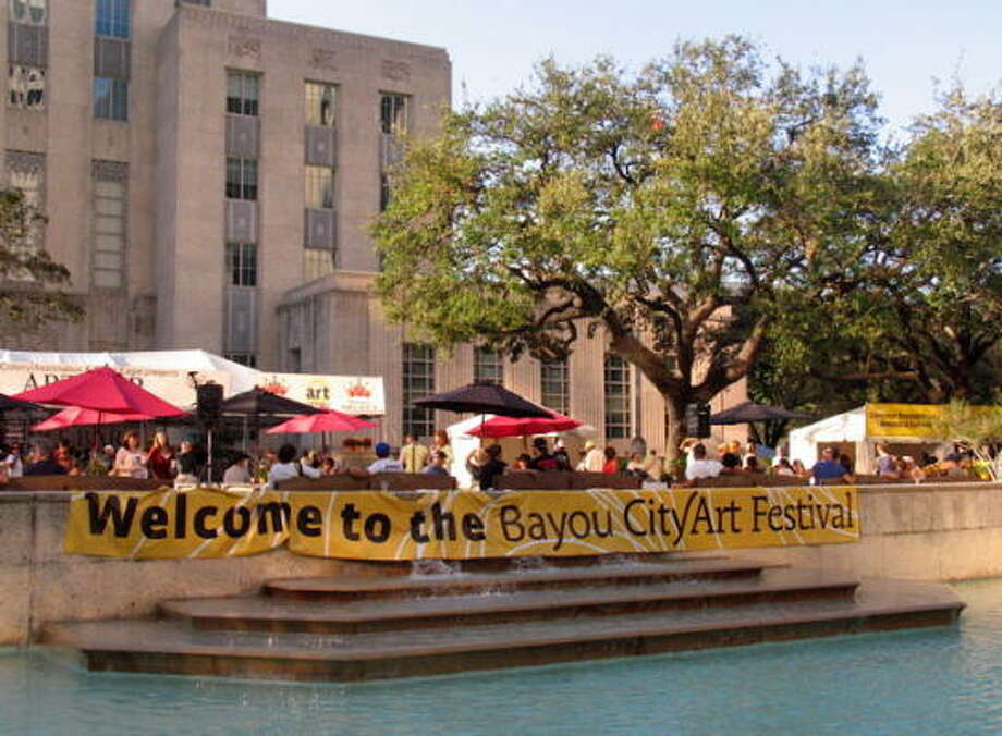 A banner welcomed the crowd to the Bayou City Art festival over the weekend. Photo: Jordan Graber, For The Chronicle