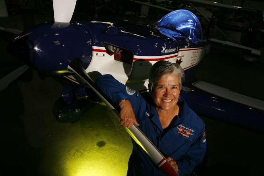 Debby Rihn-Harvey recently won the 2008 U.S. National Aerobatic Championships for the second time, making her one of just eight pilots who has held the title more than once. Rihn-Harvey says she practices two or three times a day every weekend. Photo: ERIC KAYNE, CHRONICLE