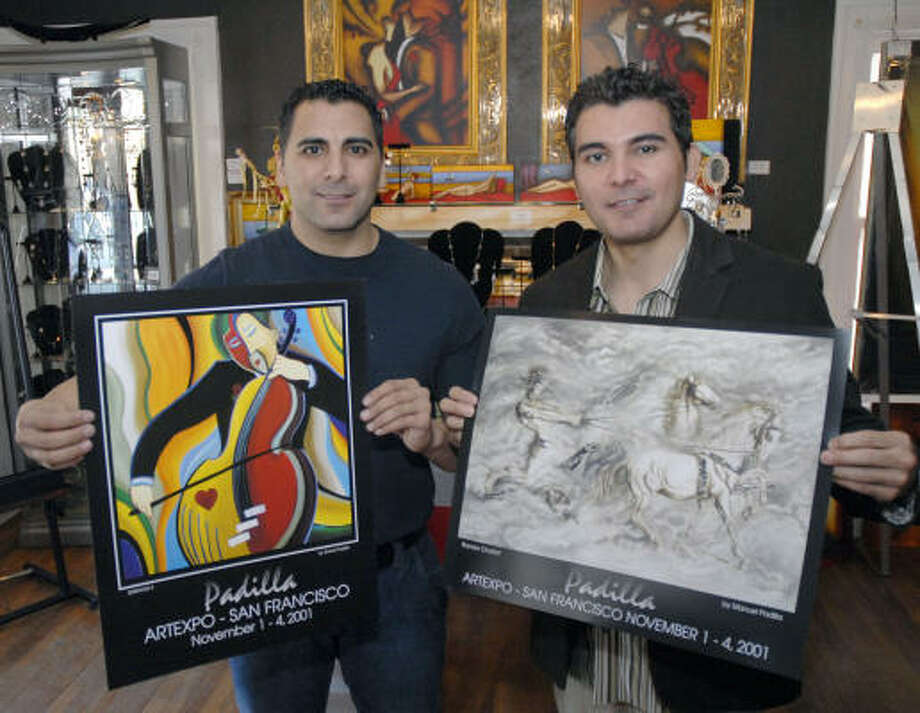 Brothers Daniel, left, and Manuel Padilla jointly own DNM Art Group, 2610 Greenbriar. The brothers recently opened a second art gallery, Le Elegante, in McAllen. Photo: TIM JOHNSON, For The Chronicle