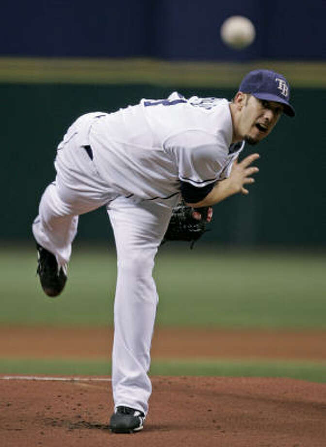 Tampa Bay Rays starting pitcher James Shields throws against the Boston Red Sox during the first inning of Game 6 of the American League Championship Series on Saturday in St. Petersburg, Fla. Photo: Joe Skipper, AP