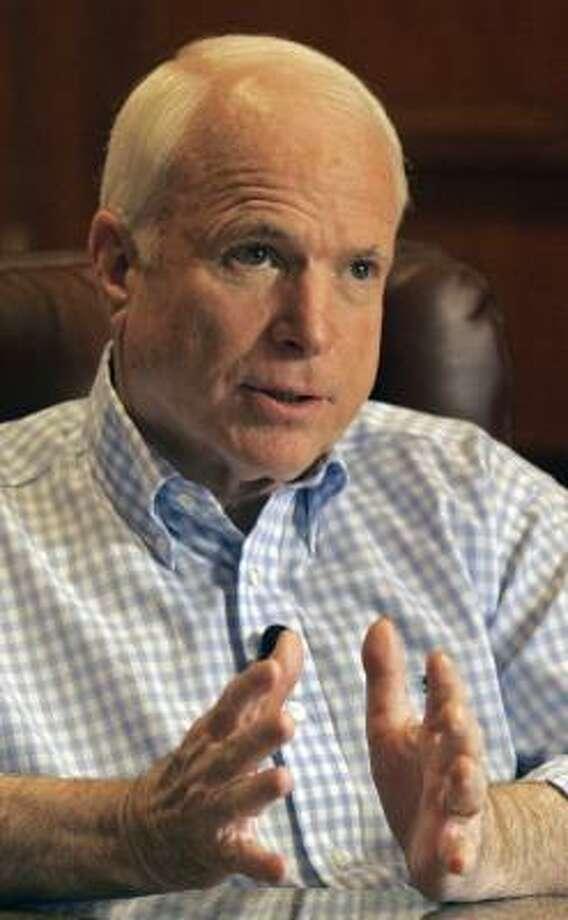 Sen. John McCain, R-Ariz., is focusing on the making the current plan work. Photo: RICK HAVNER, ASSOCIATED PRESS