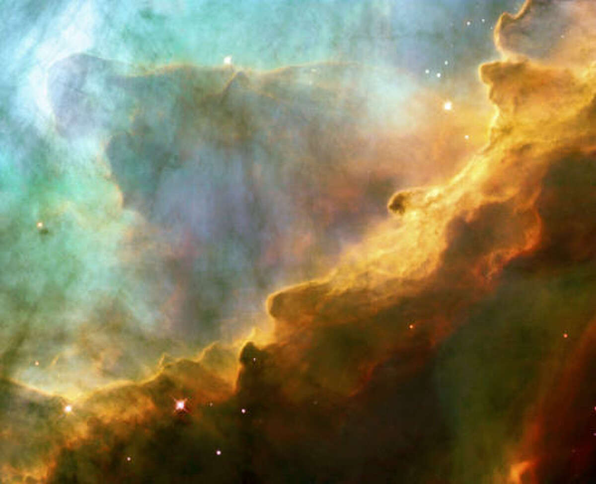See more of the most amazing images of space captured by NASA. Resembling the fury of a raging sea, this 1999 image hows a bubbly ocean of glowing hydrogen gas and small amounts of other elements such as oxygen and sulfur within M17, about 5,500 light-years away in the constellation Sagittarius.