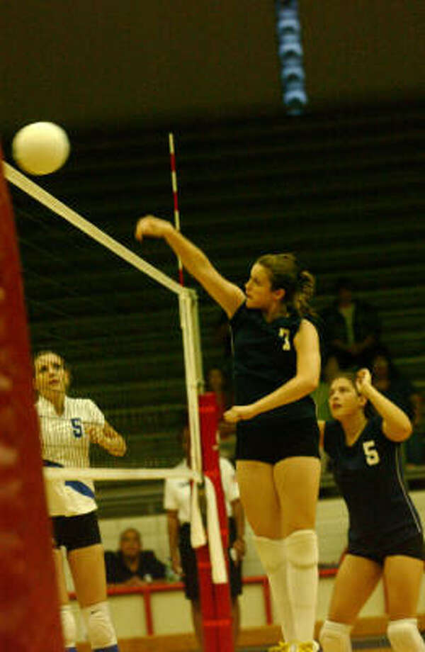 Carnegie Vanguard's Brookelynn Russey goes for a kill vs. Chavez in a match last week. The Houston ISD Volleyball Tournament is next up, to be played at various sites Thursday through Saturday. Photo: Jimmy Loyd, For The Chronicle