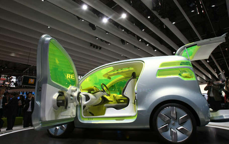 The Renault ZE Concept zero emission vehicle is presented during a press conference at the Paris Motor Show Photo: JOEL SAGET, AFP/Getty Images
