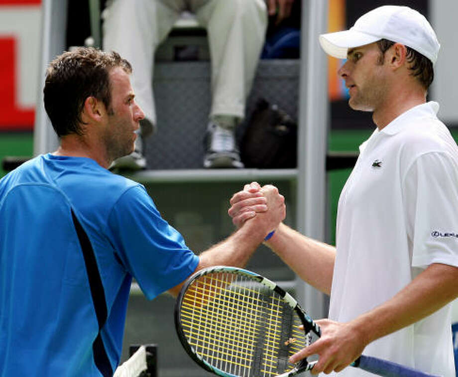 Andy Roddick downed Marc Gicquel with the help of 18 aces. Photo: RICK STEVENS, AP