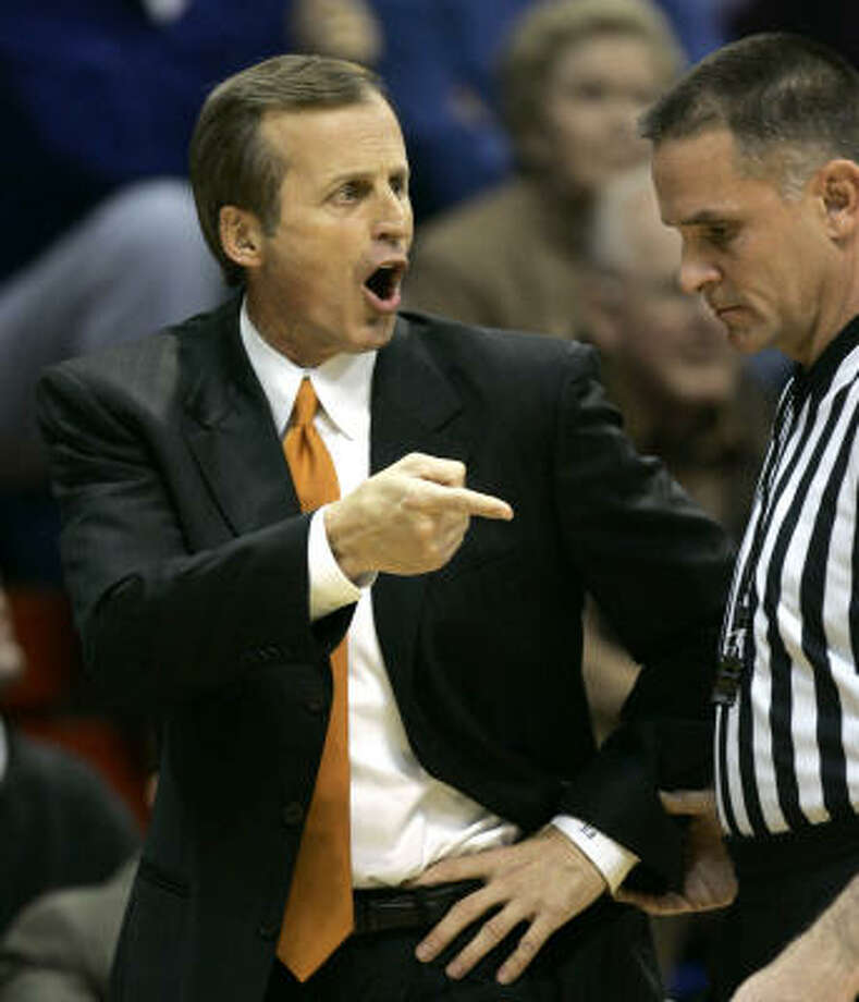Texas coach Rick Barnes argues a call during the first half of a basketball game against Kansas in Lawrence, Kan., last Saturday. Photo: Charlie Riedel, AP