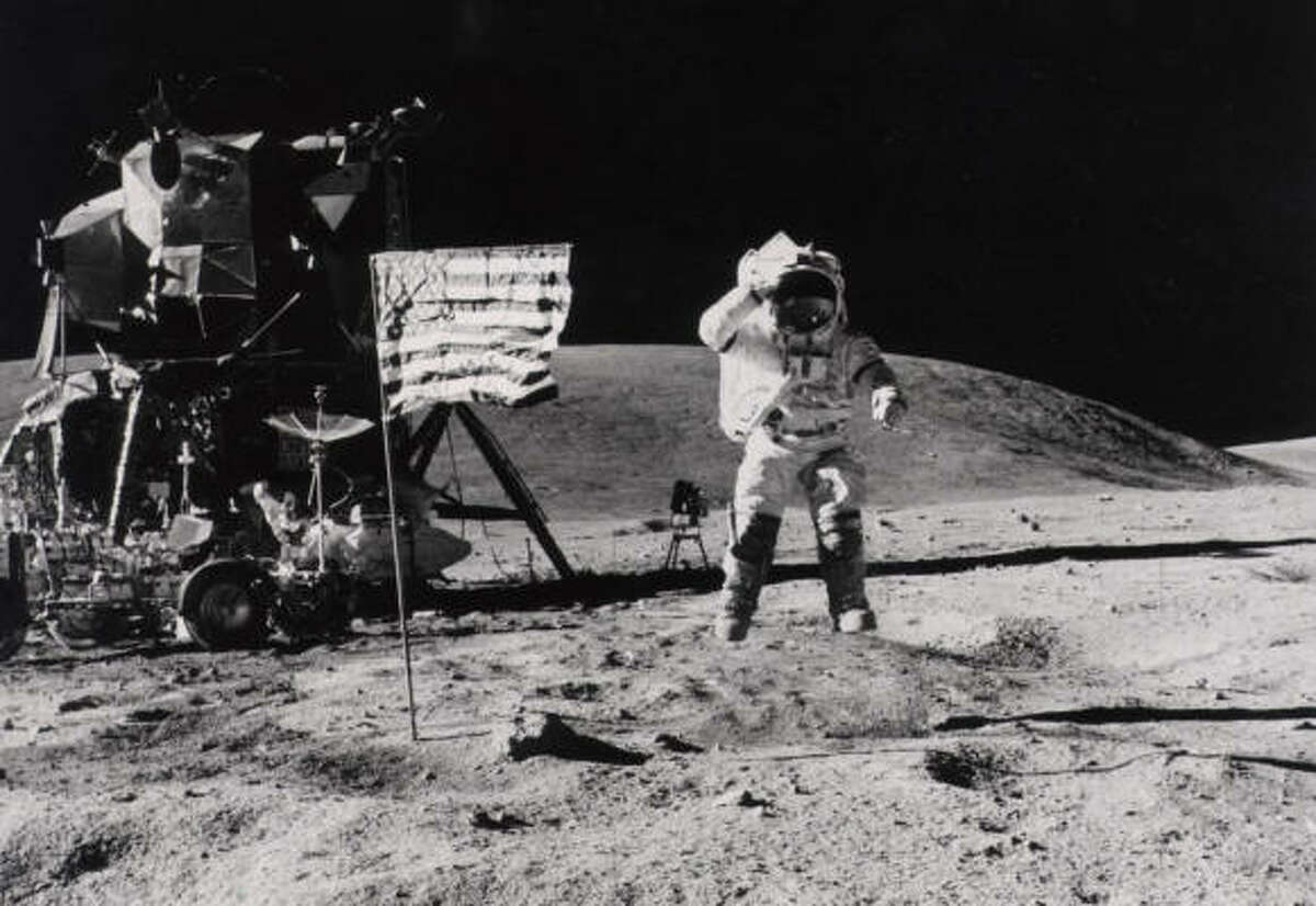 Astronaut John W. Young salutes the American flag on the moon in 1972 during the Apollo 16 mission. NASA's chief said Thursday that China could mount a lunar mission within a decade.