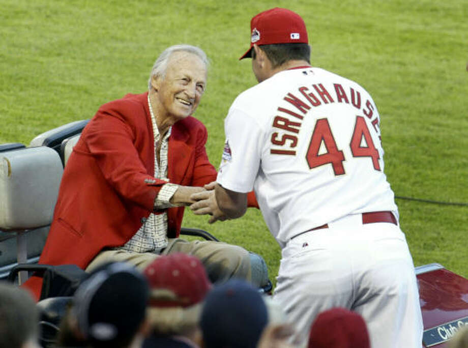 Hall of Famer Stan Musial joined the Cardinals before the game. Photo: Tom Gannam, AP