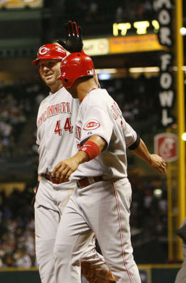 Adam Dunn (44) had a three-run homer in the seventh. Photo: Karen Warren, Chronicle