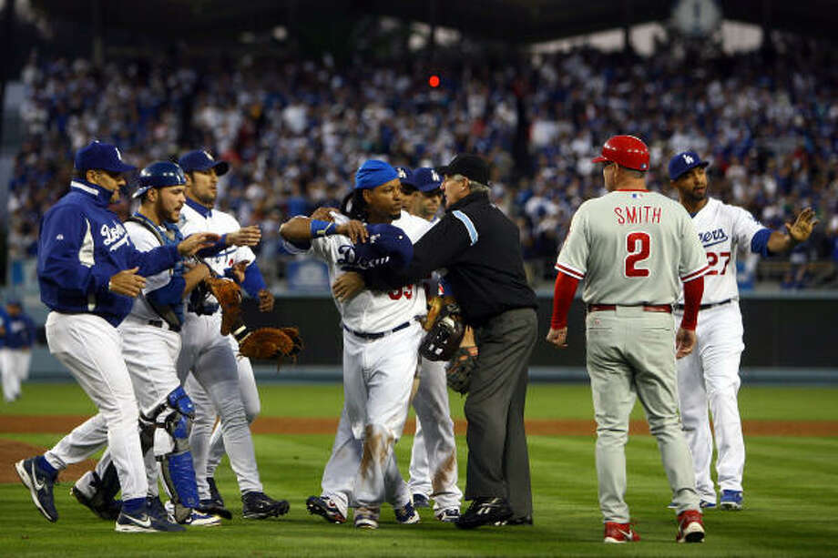 Oct. 12, 2008:The Los Angeles Dodgers weren't in a talking mood after Philadelphia Phillies outfielder Shane Victorino had some choice words for Dodgers pitcher Hiroki Kuroda after a pitch was thrown near his head in Game 3 of the National League Championship Series. Four players and three coaches received undisclosed fines for their roles in the bench-clearing incident. Photo: Jeff Gross, Getty Images