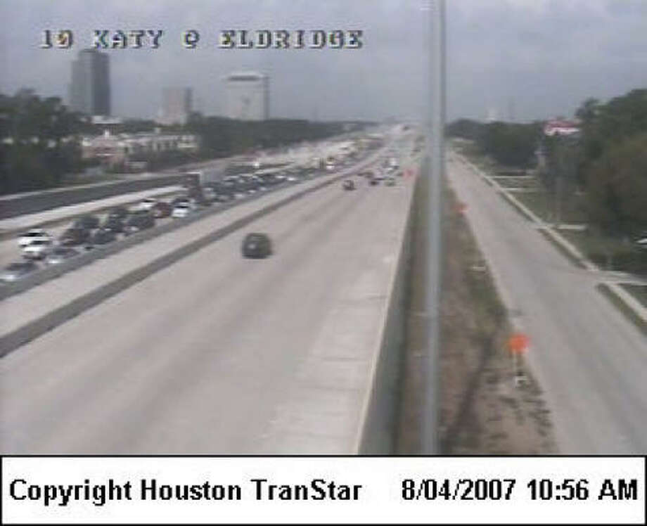 Traffic backs up Saturday at Katy Freeway and Eldridge. Photo: TRANSTAR