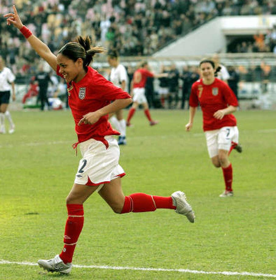 Alexandra Scott, who scored England's goal, helped her team take advantage of the absence of key U.S. players. Photo: Eugene Hoshiko, AP