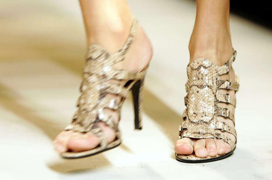 Shoes from the Bottega Veneta women's Autumn-Winter 2007/2008 collection. Photo: ANTONIO CALANNI, AP
