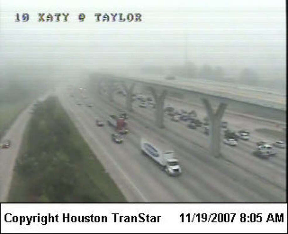 Commuters were being advised to slow down in the foggy conditions this morning. Photo: Houston TranStar