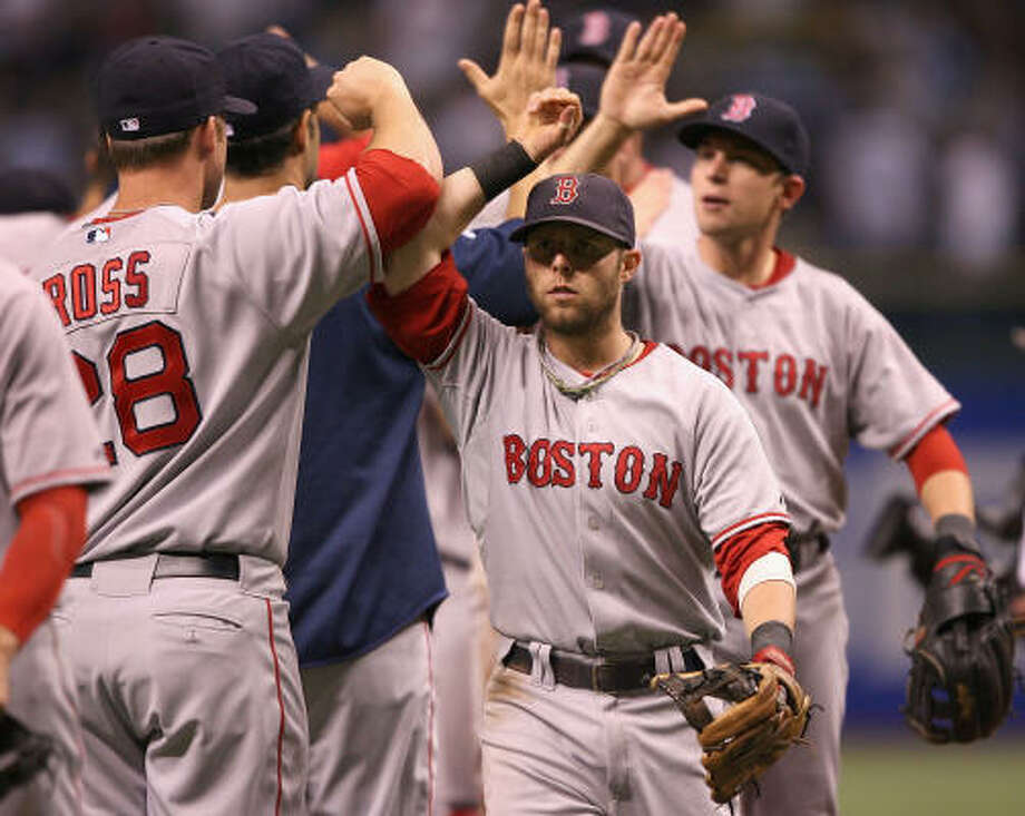 ALCS Game 1: Red Sox 2, Rays 0.Boston won for 11th time in its last 12 postseason games. Red Sox lead series 1-0. Photo: Elsa, Getty Images