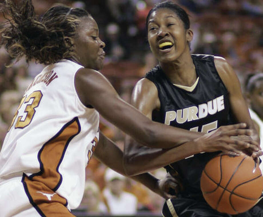 Purdue center Danielle Campbell couldn't get past Tiffany Jackson and the Texas Longhrons. Photo: Harry Cabluck, AP