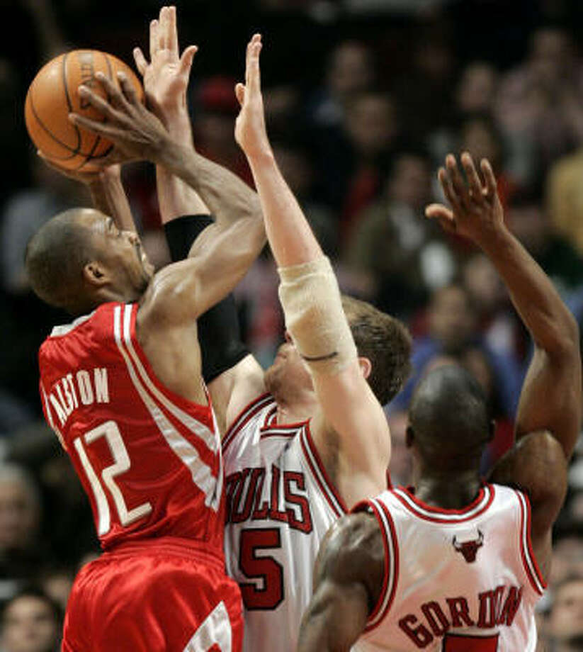 The Rockets' Rafer Alston (12) hopes he has put his shooting slump behind him after scoring 20 points and hiting four 3-pointers against the Los Angeles Lakers on Wednesday night. Photo: Nam Y. Huh, AP