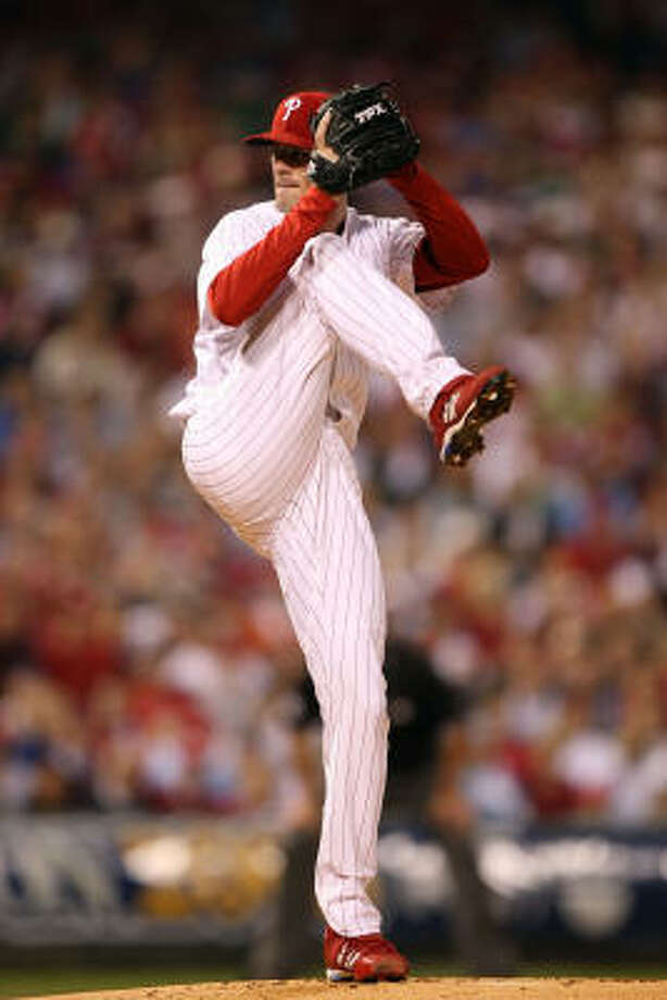 Oct. 9, 2008: Cole Hamels started Game 1 for the Phillies as they face the Dodgers at home. The Phillies won 3-2. Photo: Jed Jacobsohn, Getty Images