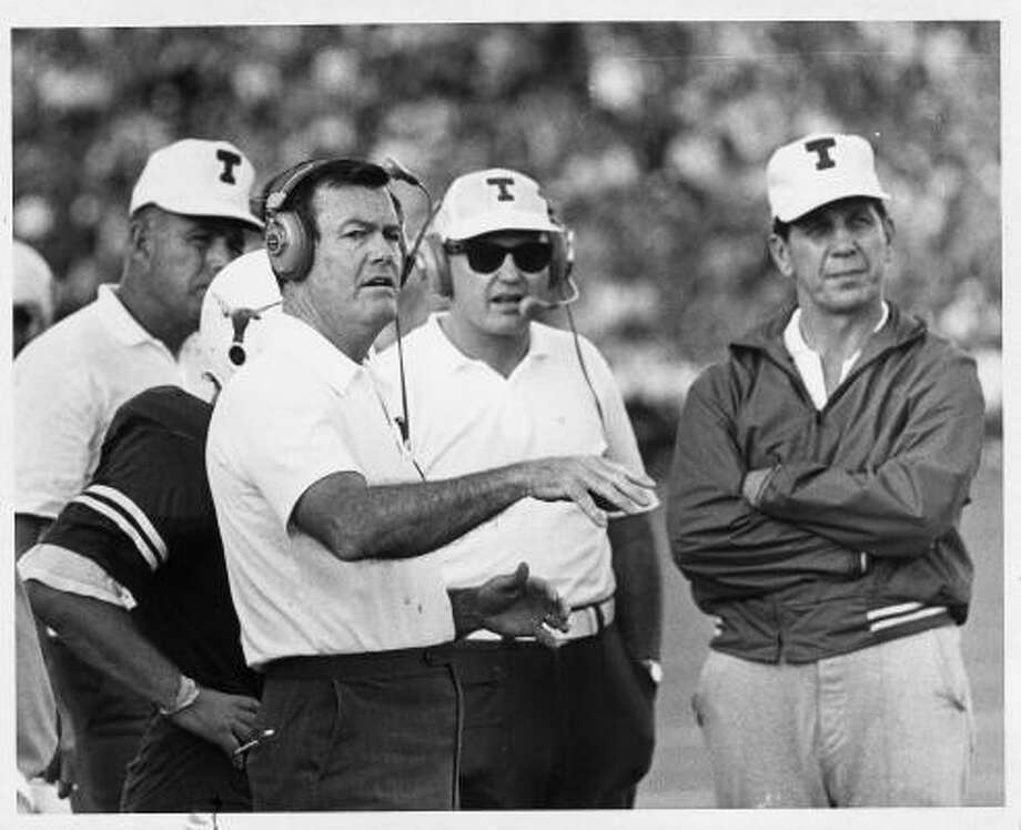 Dec. 12, 1970:Darrell Royal kept Texas pointed toward the national title. Royal led the Longhorns to three Nationional Championships - 1963, 1969 and 1970. Photo: SAM C. PIERSON, JR., HOUSTON CHRONICLE