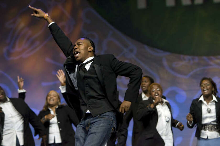 The Judah Assembly of Praise choir performs during the How Sweet The Sound regional church choir competition at Toyota Center Monday, Oct. 6. Six local churches competed. South Union Church of Christ won the best small choir and The Church at Bethel's Family won the peoples choice, best large choir and the regional champion award. The winning churches were given $10,000 each from Verizon Wireless. Photo: Johnny Hanson, Chronicle