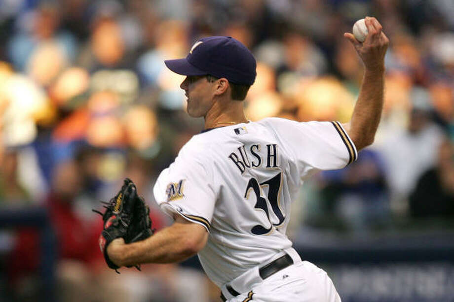 Dave Bush got the start for the Brewers in Game 3 of the NLDS at Miller Park. Milwaukee won 4-1 to stay alive in the series. Photo: Jim McIsaac, Getty Images