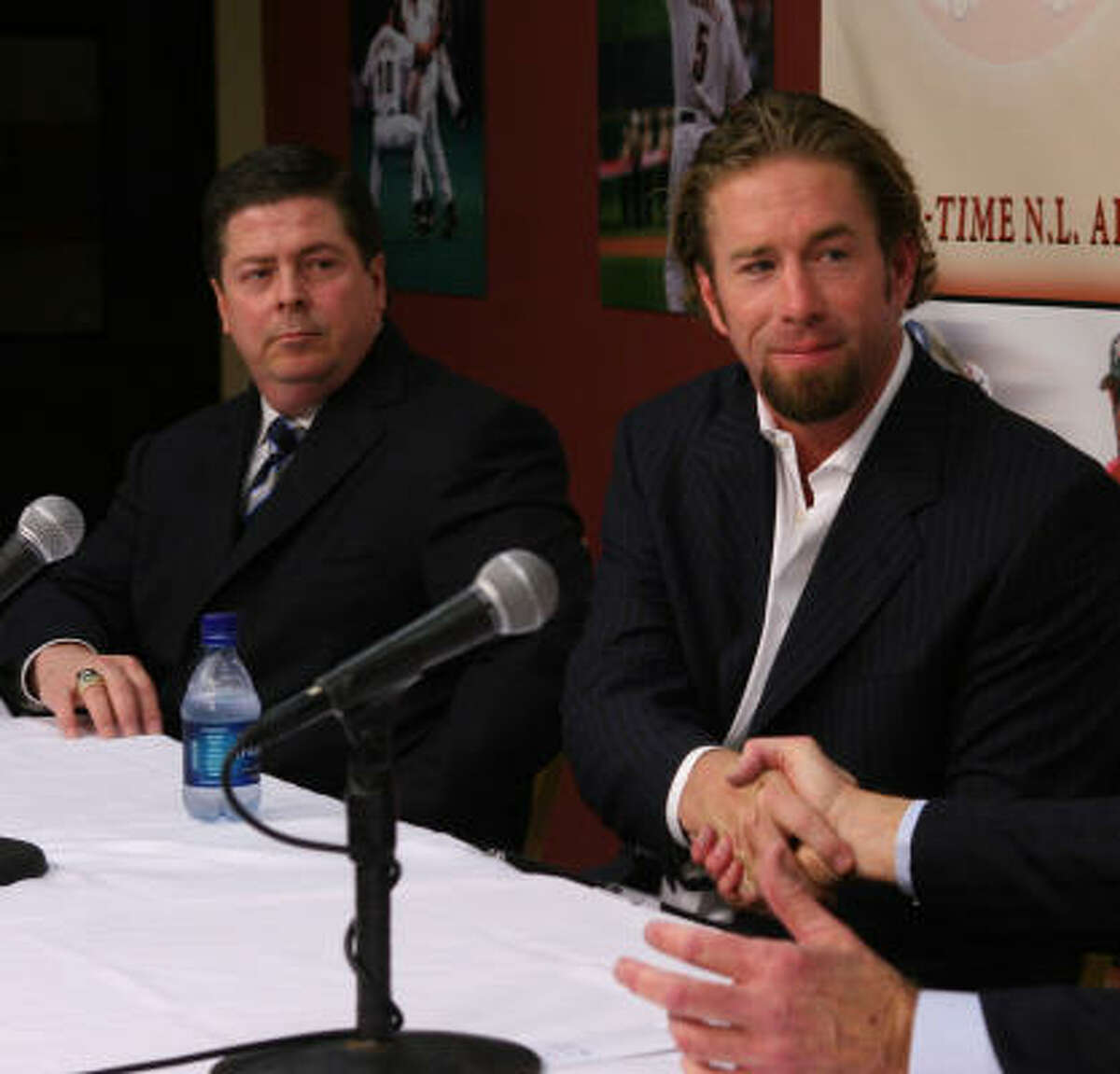 Astros GM Tim Purpura (with Jeff Bagwell) said he tries to be detail-oriented in his daily tasks.