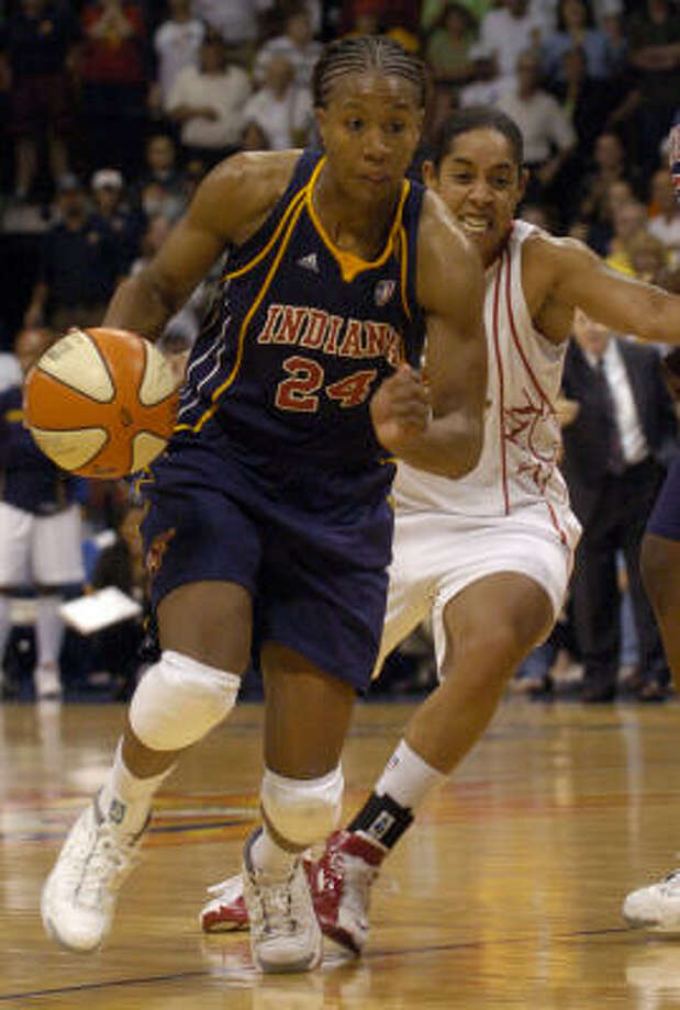 Tamika Catchings stars for the  Indiana Fever in the WNBA. Other celebs in the game:Sean Elliot ( former NBA star), Ryen Rssillo ( ESPN), Terrence Jenkins ( E!) and John Schriffen ( ABC News). Photo: Jessica Hill, AP