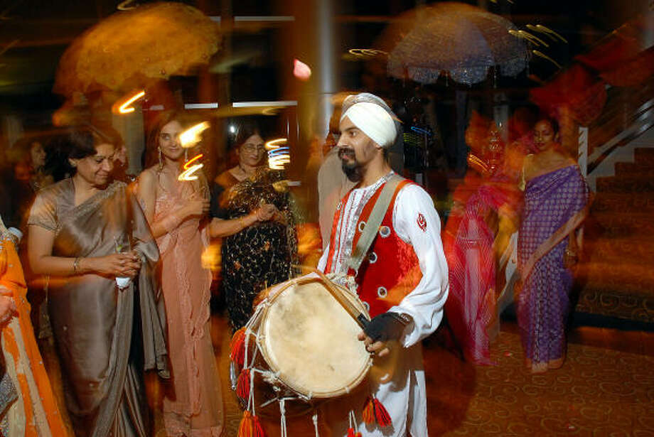 Drummers led the procession at the UNICEF Mystique of India gala at the InterContinental Hotel Saturday. Photo: Dave Rossman, For The Chronicle