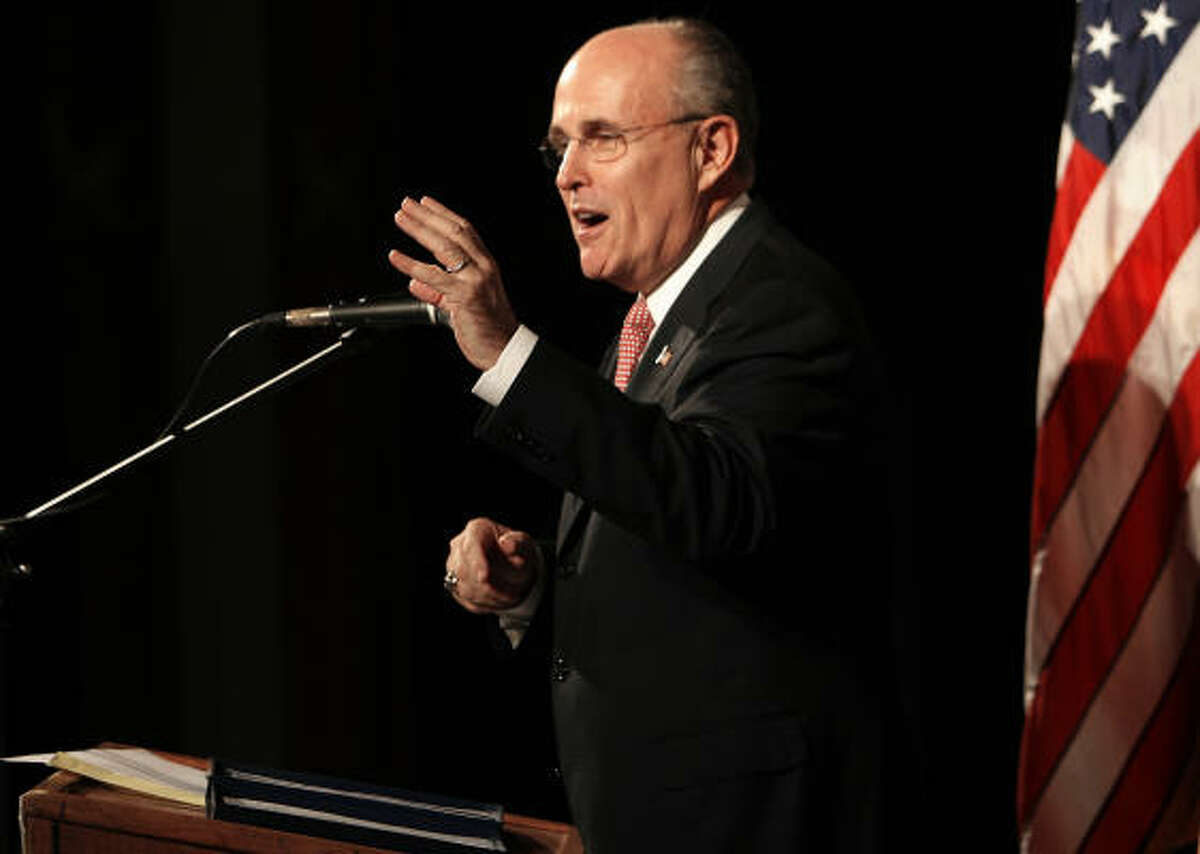 Former New York City mayor Rudy Giuliani speaks at the state's annual Republican meeting in Manchester, N.H., on Saturday. Giuliani was in Houston for a fundraiser Thursday.