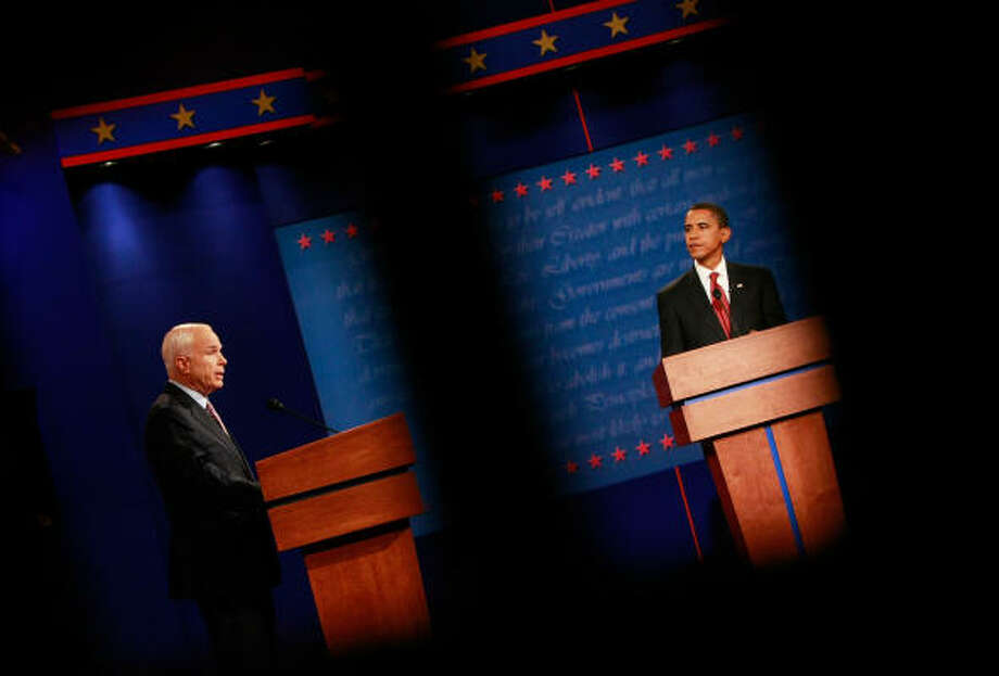 Barack Obama and John McCain clashed over spending, taxes, energy and - at length - the war in Iraq during their 90-minute debate. Photo: Win McNamee, Getty Images
