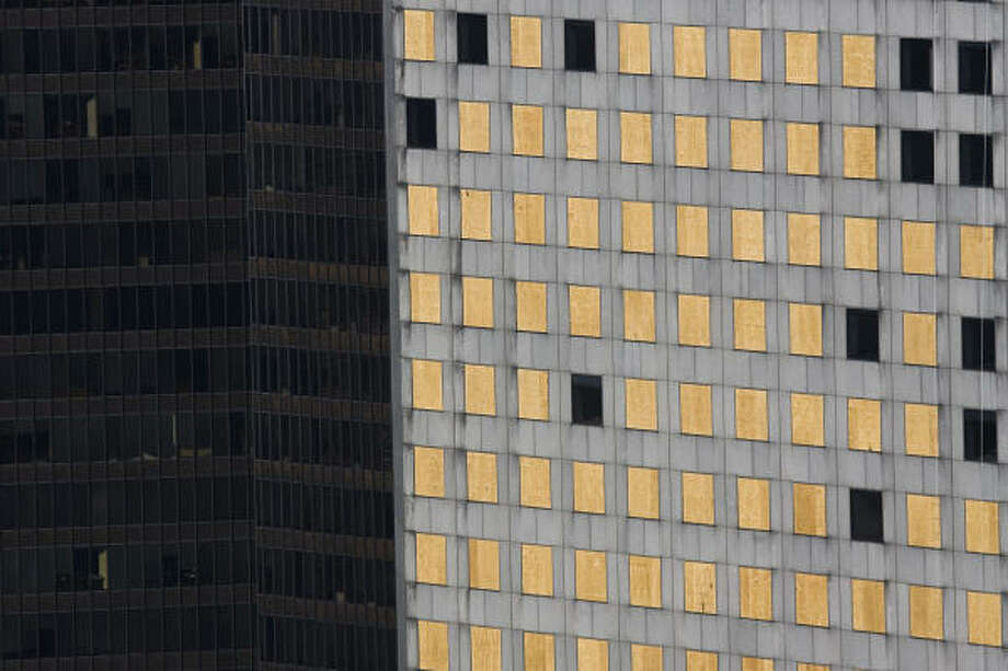 Boarded windows on the Chase Tower in an aerial view after Hurricane Ike in downtown Houston. Photo: Smiley N. Pool, Chronicle