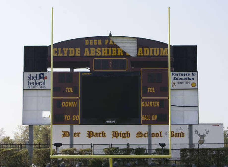 The scoreboard at Deer Park High School's Abshier Stadium also sustained some damage. Photo: James Nielsen, Chronicle