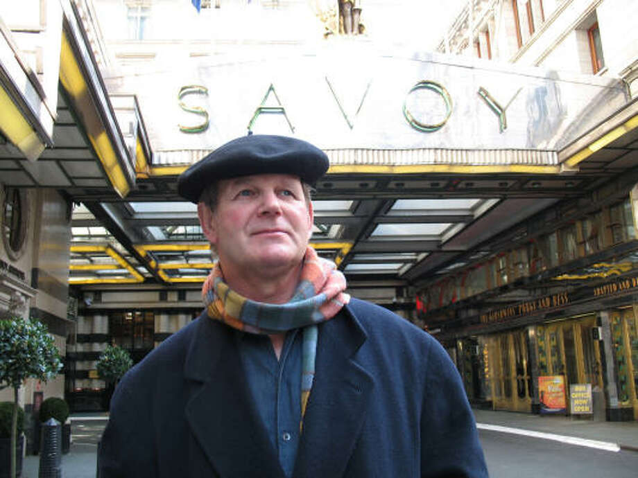 This shows novelist Michael Morpurgo standing in front of the Savoy Hotel in London, where he is writer-in-residence. He is a well-known writer of more than 100 books and has been honored by Queen Elizabeth II. Photo: Gregory Katz, Chronicle