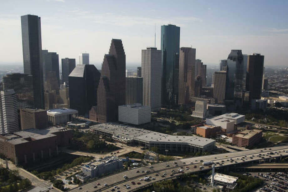 An aerial view show the downtown skyline after Hurricane Ike in Houston. Photo: Smiley N. Pool, Chronicle