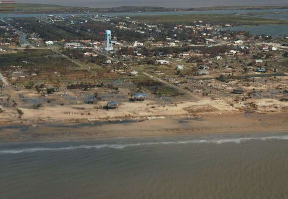 Oblique aerial photography shows Crystal Beach on  Sept. 15, 2008, two days after  Hurricane Ike hit. Photo: U.S. Geological Survey