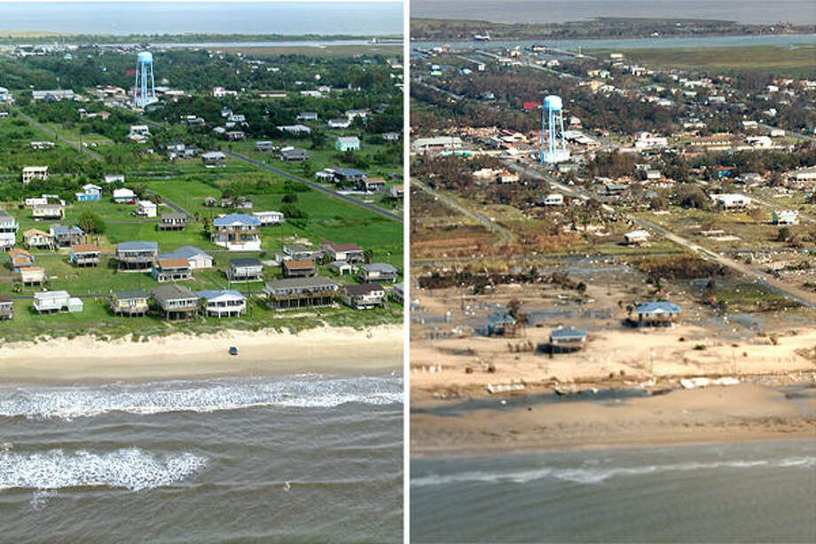 The before and after shots of Crystal Beach are dramatically different. Photo: U.S. Geological Survey