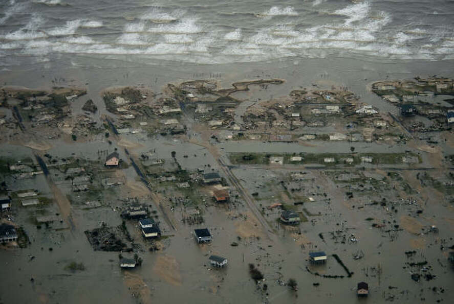 Damage after the passing of Hurricane Ike is seen  in Crystal Beach.
