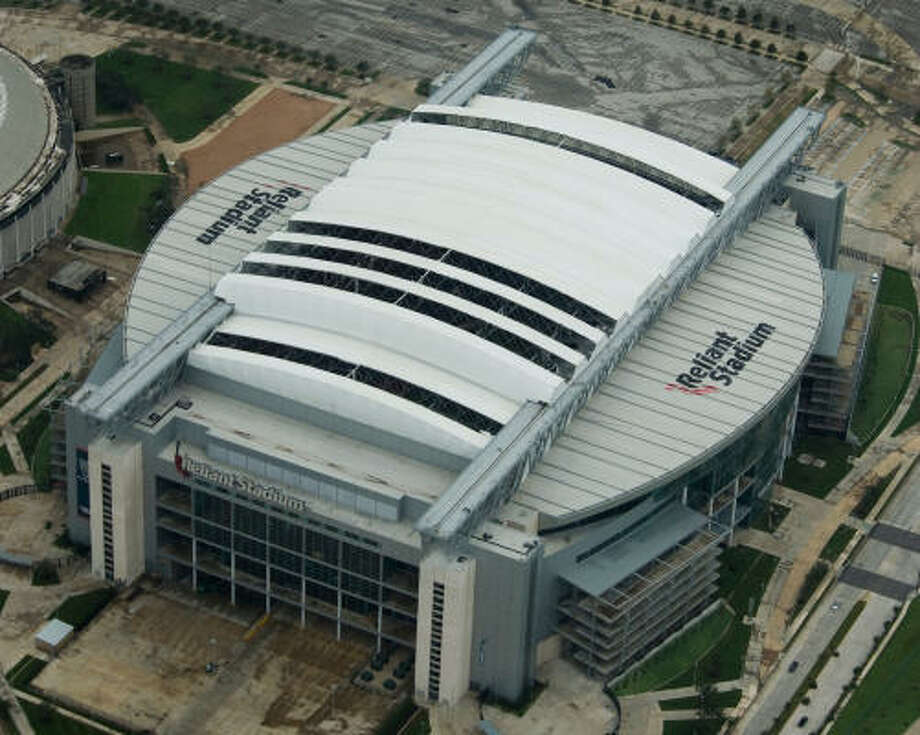 Damage to the retractable roof of Reliant Stadium is seen after the passing of Hurricane Ike. Photo: Smiley N. Pool, Chronicle